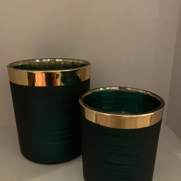 Theelicht set 2 groen-goud
