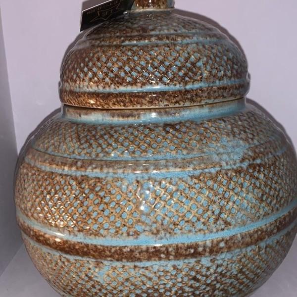 Blauwe pot met deksel Large
